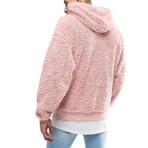 Men's Thick Sherpa Fleeced Hoodie Winter Autumn Plush Fur Casual Jumper Sweater