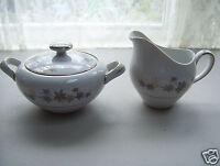 Empress China Creamer & Lidded Sugar Bowl GOLDEN SILHOUETTE Leaf Pattern Japan