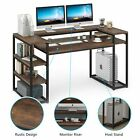 Office Home Computer Writing Desk with Monitor Stand& Shelves Spacious Work Area