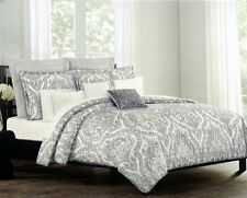 Tahari Bedding 100% Cotton 3 Piece Full/Queen Duvet Cover Set Grey. open packagi