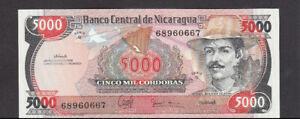 5000 CORDOBA UNC CRISPY BANKNOTE FROM NICARAGUA 1988 PICK-157