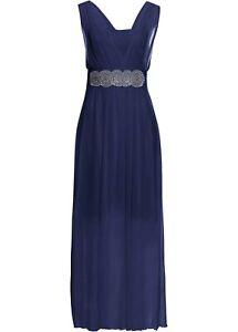 Maxikleid Gr. 52 54 dunkelblau Abendkleid Glitzer-Applikation Sommer Kleid neu