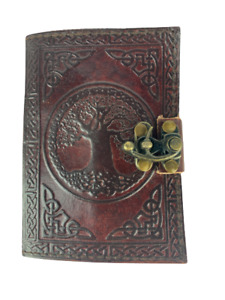 Hand Made Leather Bound Book/Journal Recycled Paper Celtic Tree of Life12.5x9cm