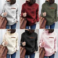 Plus Size Womens Turtle Neck Fluffy Fleece Sweater Solid Warm Zipper Jumper Coat