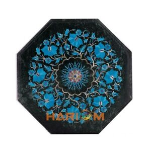 Black Marble Coffee Top Table Turquoise Floral Inlay Marquetry Art Decorate B260