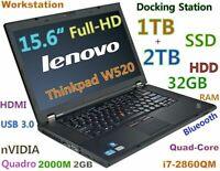 # Workstation Thinkpad W520 i7-Quad 1TB SSD + 2TB 32GB 15.6 FHD NV-2000M DOCKING