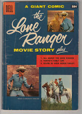 LONE RANGER MOVIE STORY Origin CLAYTON MOORE PHOTO COVER Dell Giant 1956 VG- 3.5