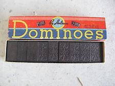 Set of Vintage Haslam Wood Dominoes in Box LOOK