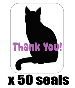 """50 Cat Silhouette Thank You! Envelope Seals / Labels / Stickers, 1"""" x 1.5"""""""