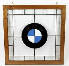 BMW Framed Emblem in Stained Leaded Glass with Wood Frame 22 x 22 Classic Look!