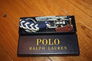 New w/ Gift Box Polo Ralph Lauren Snap-Shackle or Swivel-Pin Braided Key Fob