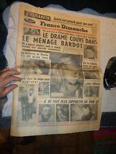 Ancien Journal France Dimanche le drame couve dans le Ménage Bardot ( Brigitte )