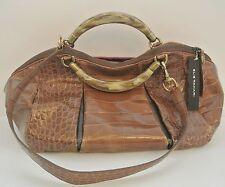 Tan Croc-embossed Leather ELIE TAHARI Satchel Handbag, M, 9x15x5 in,16 in drop