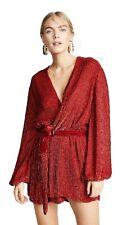 NWT Retrofete Deep Red Gabrielle Sequin Belted Wrap Dress M RP$615 SOLDOUT COLOR