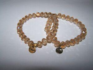 Erimish Faceted Glass Crystal Bead Stretch Bracelet Lot of 2 Aurora Borealis