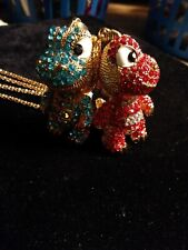 Betsey johnson Blue n Red Crystal Baby Dinosaur necklaces
