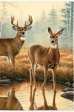 "12.5"" x 18"" MORNING REFLECTIONS Deer in Creek Small Decorative Banner Flag"