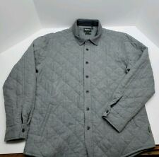 Barbour Kirk Quilted L/S Button Down Gray Tailored Fit Shirt Jacket - Men's XL