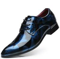 Size 38-48 Mens Patent PU Leather Floral Printed Pointed Toe Shoes Business d