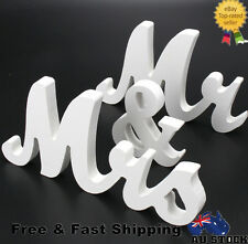 Fashion Mr and Mrs Sign Letters White Wooden Standing Wedding Table Decoration