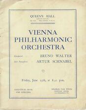 1937 Vienna Philharmonic Orchestra programme Bruno Walter Artur Schnabel London
