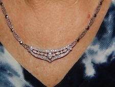 18K SOLID WHITE GOLD DIAMOND CENTERPIECE FILIGREE NECKLACE  16 INCH SAFETY CLASP