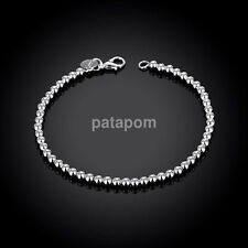 Trendy Women Men's 925 Silver Plated Round Beads Cuff Bracelet Bangle Jewelry
