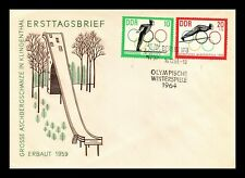 DR JIM STAMPS WINTER OLYMPIC GAMES FDC DDR EAST GERMANY EUROPEAN SIZE COVER