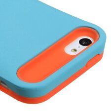 For iPhone 5C - HARD&SOFT ID CARD WALLET HOLDER SKIN CASE COVER BLUE / ORANGE