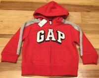 Baby Gap Boys 3 / 3T Hoodie. Red & Gray GAP Logo Hoodie Zip-Up Sweatshirt. Nwt