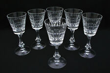 "(6) TIFFIN CRYSTAL - WATERFORD PATTERN W/ ROUND FOOT - 6 3/4"" WINE GOBLET 17442"