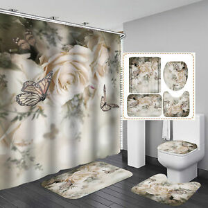 Butterfly Flower Pattern Shower Curtain Bath Rugs Toilet Seat Cover Bathroom Set