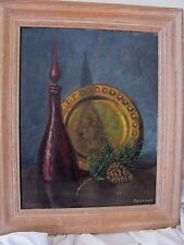 Seymour signed oil painting mid century decanter pine cone brass plate 60's 70's