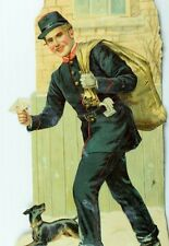 "1880's-90's Big Die Cut The Jolly Postman Mailman Victorian Scrap 4"" X 8 1/"" *T"