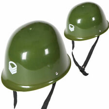 Green Army Soldier Helmet Hard Plastic Hat Adults Military Fancy Dress War Time