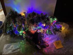 Bethlehem Lights 9' Flocked Clear Multicolor Lighted Garland Mantel Christmas BH