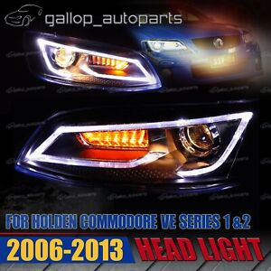 For Holden Commodore VE Series 1 / 2 06-13 Dual Beam Head Lights Black Housing