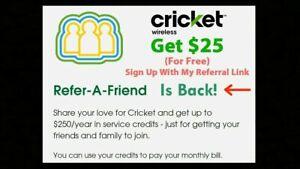 Cricket Wireless Referral Link FREE $25 Refer a Friend Account Bonus Credit