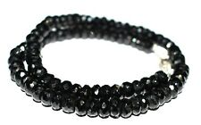"Black Spinel Gemstone Round 6 mm Beads 925 Sterling Silver 22"" Strand Necklace"