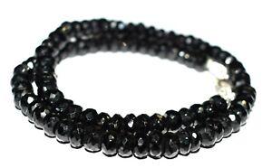 "Black Spinel Gemstone Round 6 mm Beads 925 Sterling Silver 22"" Strand Necklace"