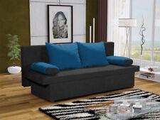 Sofa Schlafsofa inklusive Bettkasten DANNY Schwarz / Blau