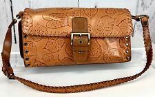 Women's Bag: M C Marc Chantal Handbag, Leather with Leaf Pattern, Pre-Owned