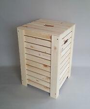 Wooden PlainWood Box Baskets Dirty Clothes Laundry Storage Washing Bathroom Bin