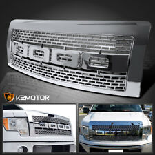 09-14 Ford F150 Raptor Style Replacement Mesh Bumper Hood Chrome Grille w/Shell