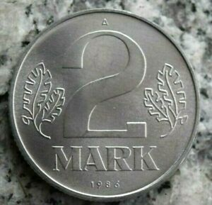 2 Mark 1986 A Kursmünze DDR in Aluminium - in Prägefrischer Erhaltung !