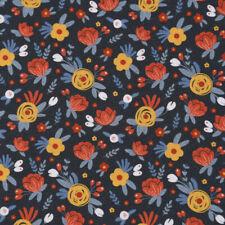Baumwollstoff GOTS Bio Popeline Wiesenblume abstrakt dunkelblau bunt 1,50m Breit