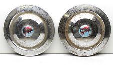 """2 Vintage 1950's Triumph Mayflower Hub Caps 10"""" Dia Chrome with Center Emblem"""