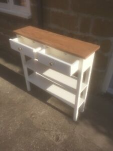 BESPOKE H80 W100 D20cm CONSOLE HALL TABLE 2 DRAWERS 2 SHELF WHITE SATIN