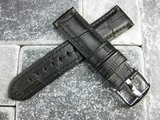 22mm Gator Grain Leather Strap Black Watch Band PAM Tang Buckle 22