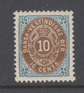 Danish West Indies Sc 20 Bi-Colored 10 Cents Blue & Brown Mint Hinged